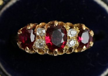 18ct Gold, Ruby & Old Cut Diamond Ring