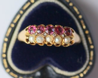 18ct Gold, Ruby & Pearl Ring - SOLD