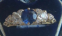 18ct Gold, Sapphire & Old Cut Diamond Ring