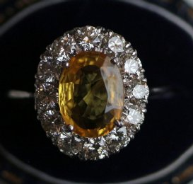 18ct Gold, Yellow Sapphire & Diamond Ring - SOLD