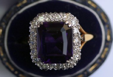 18ct Gold,Amethyst & Diamond Ring