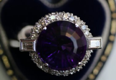 18ct Gold,Amethyst & Diamond Ring set in Platinum