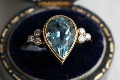 18ct Gold,Aquamarine & Diamond Ring