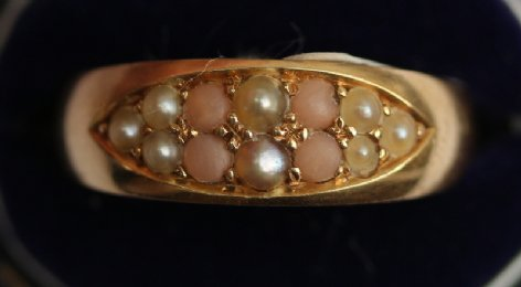 18ct gold,coral & seed pearl ring