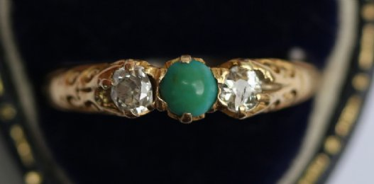 18ct gold,Diamond & Turquoise ring