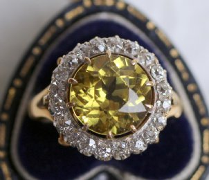 18ct Gold,Diamond & Yellow Sapphire Ring