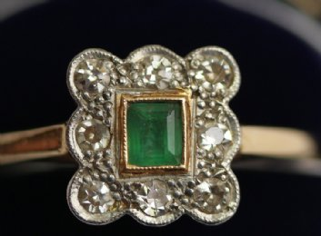 18ct Gold,Old Cut Diamond & Emerald Ring