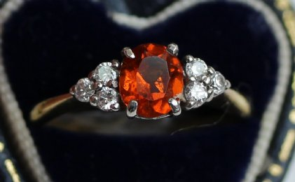 18ct Gold,Orange Garnet & Diamond Ring