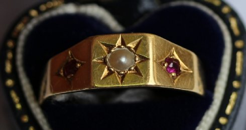 18ct Gold,Pearl & Ruby Ring C1910