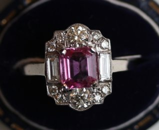 18ct Gold,Pink Sapphire & Diamond Ring - SOLD