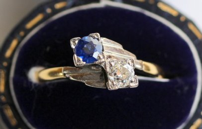 18ct Gold,Sapphire & Diamond Ring set in Platinum