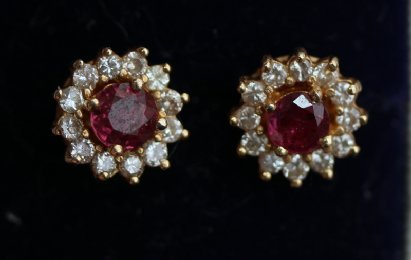 18ct Ruby & Diamond Ear Studs