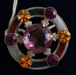 19th cent Agate & Gem Set Scottish Brooch