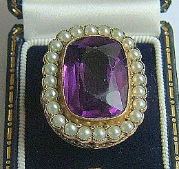 19th Cent Amethyst & Pearl Ring