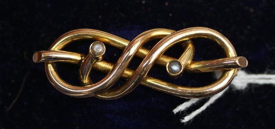 19th cent Gold & Pearl Brooch