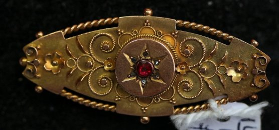 19th cent Gold & Ruby Brooch