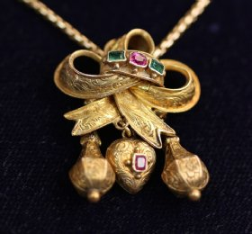 19th cent Gold, Emerald & Ruby Pendant with Chain