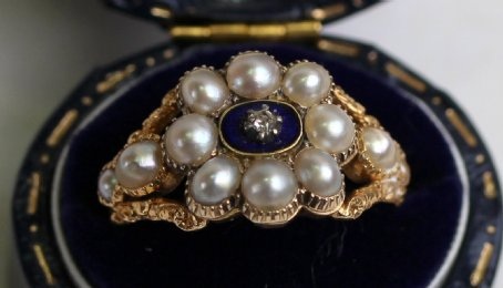 19th cent Gold,Pearl,Enamel&Diamond Ring