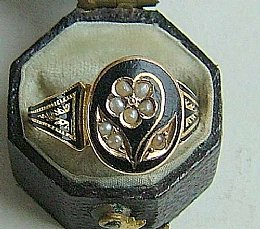 19th cent Pearl & Enamel Ring
