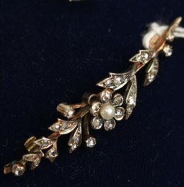 19th cent Rose Cut Diamond & Pearl Brooch