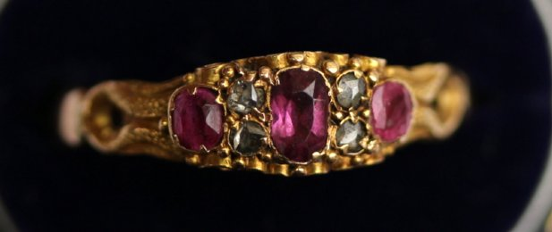 19th cent,18ct Gold,Ruby & Diamond Ring