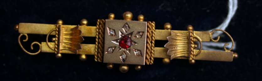 19th cent,9ctGold,Ruby & Diamond Brooch