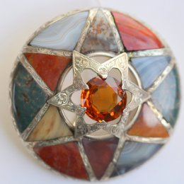 19th cent,Silver,Agate,&Citrine,Brooch - SOLD