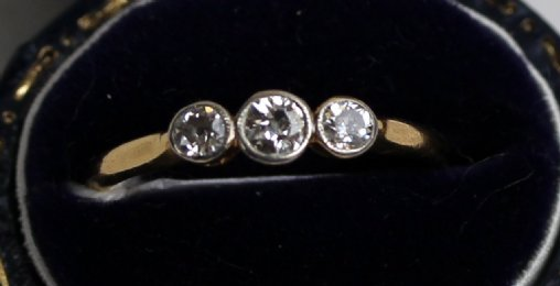 3 Stone Diamond Ring-Rub Over Setting - SOLD