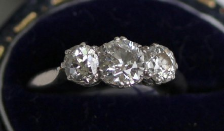 3 stone Old Cut Diamond Ring