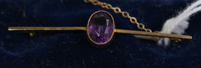 9ct Gold, Amethyst Brooch
