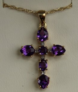 9ct Gold & Amethyst Cross & Chain