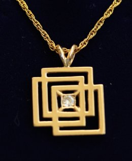 9ct Gold & Diamond Pendant with Chain
