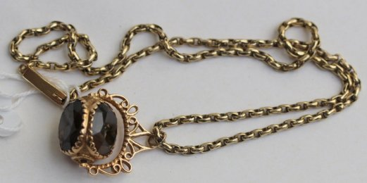 9ct gold chain & gold swivel fob