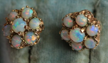 9ct Gold, Opal Earrings