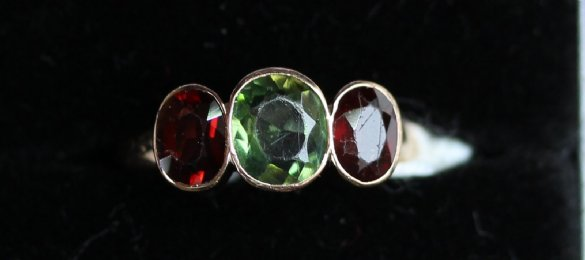 9ct Gold, Peridot & Garnet Ring - SOLD