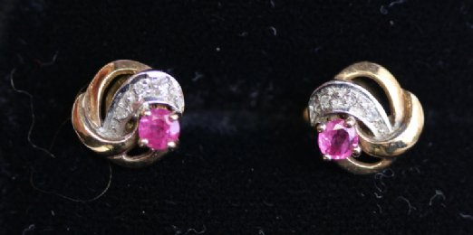 9ct Gold, Ruby & Diamond Earrings