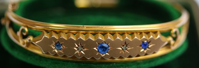 9ct Gold, Sapphire & Diamond Bangle