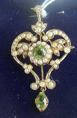 9ct Gold Victorian Peridot & Seed Pearl Pendant