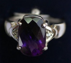 9ct Gold,Amethyst & Diamond Ring - SOLD
