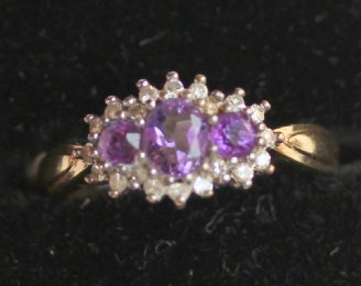 9ct Gold,Amethyst & Diamond Ring