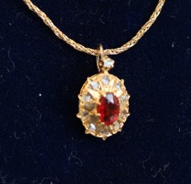9ct Gold,Ruby & Diamond Pendant