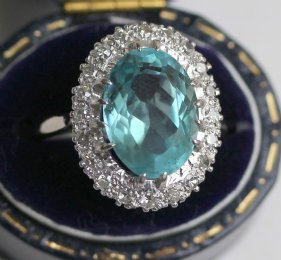 Aquamarine & Diamond Ring - SOLD