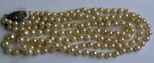 Double Strand Pearls / Silver & Marcasite Clasp