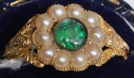 Early 19th cent Gold,Pearl & Gem Set Ring
