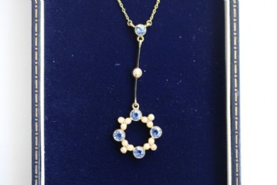 Early 20th cent Sapphire & Pearl Pendant
