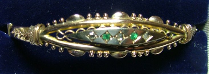 Early 20th cent,Gold, Diamond & Emerald Bangle