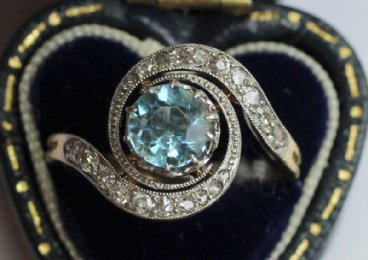 Earrly 20th cent Aquamarine & Diamond Ring