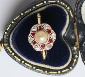 Edwardian Ruby, Diamond & Pearl Ring