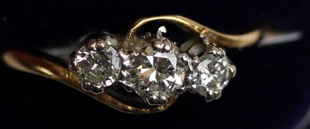 Gold, 3 Stone Diamond Ring