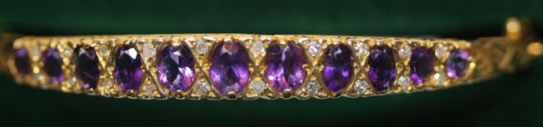 Gold Amethyst & Diamond Bangle